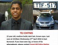 Tej Chitnis Missing Person Poster