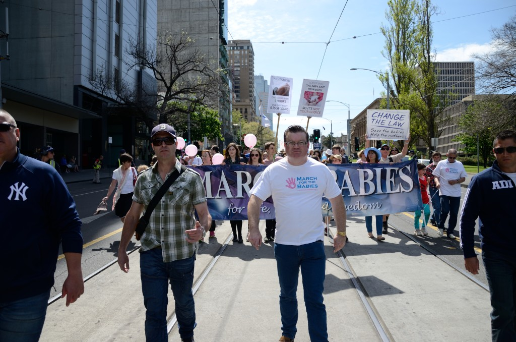 Victorian Liberal MP Bernie Finn leads the 'March for the Babies' in October 2014. Photo - Finbar O'Mallon