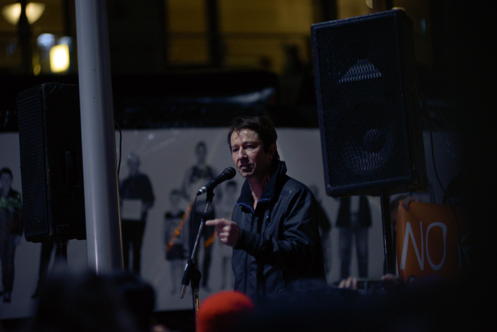 Yarra City Councillor Stephen Jolly addresses the crowd. Photo - Finbar O'Mallon