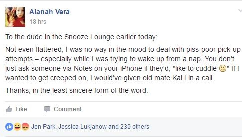 Alanah Vera's post in RMIT Stalker Space on Monday
