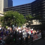 Protesters at State Library Forecourt. Photo- Katie Coulthard