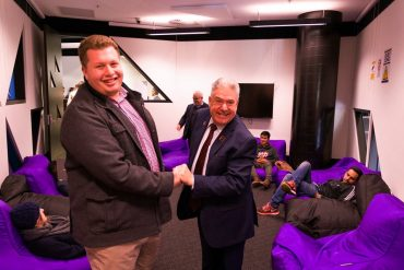 RUSU President Ariel Zohar with RMIT Vice Chancellor Martin Bean opening snooze lounge
